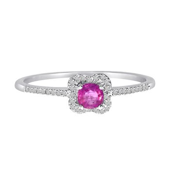14k White Gold Ruby and .11 ct Diamond Ring