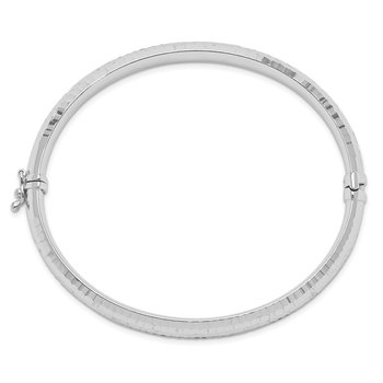 Sterling Silver Rhodium-plated Diamond-cut Bangle
