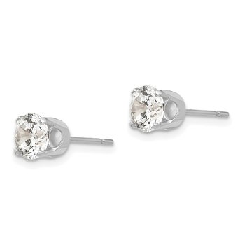 14k White Gold 5.75mm CZ stud earrings