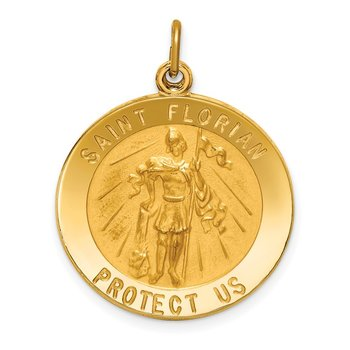 14k Solid Polished/Satin Round St. Florian Medal
