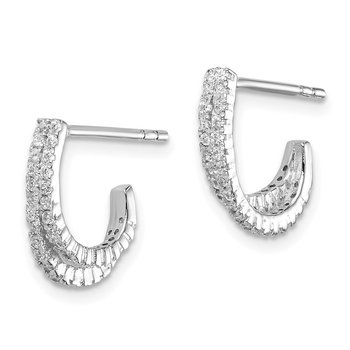 Sterling Silver Rhodium-plated 2-Row CZ J-Hoop Post Earrings