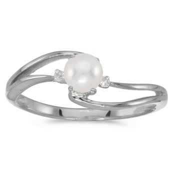 10k White Gold Pearl And Diamond Wave Ring