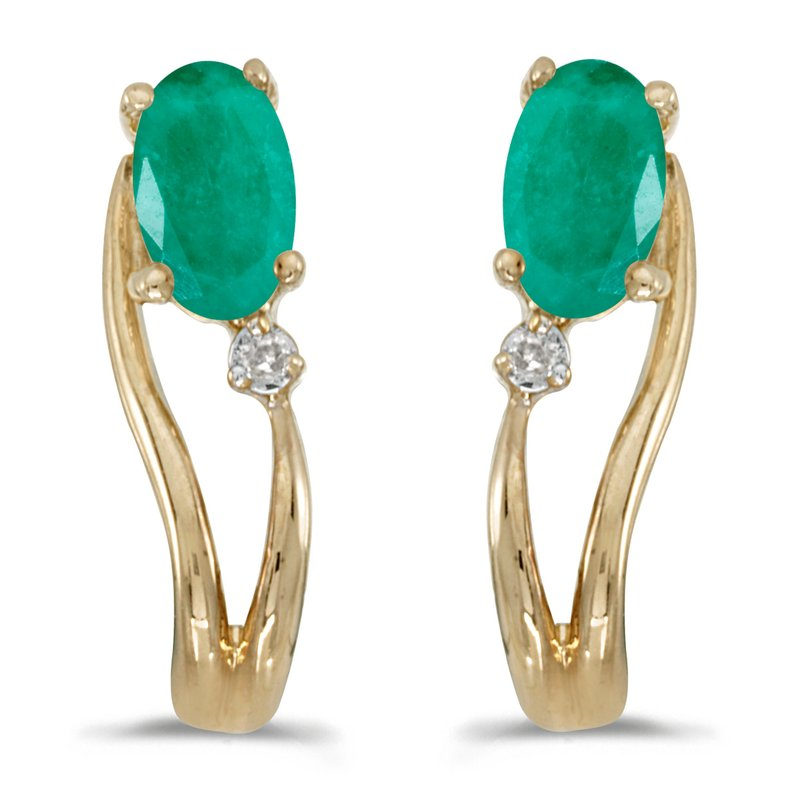 Color Merchants 14k Yellow Gold Oval Emerald And Diamond Wave Earrings