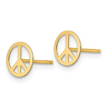 14k Madi K Peace Sign Post Earrings