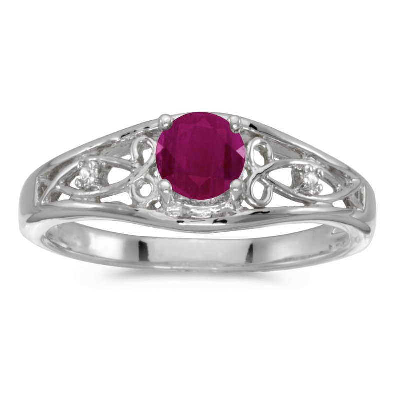 Color Merchants 14k White Gold Round Ruby And Diamond Ring