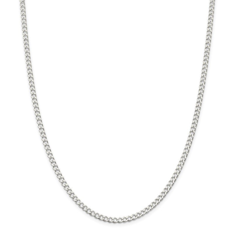 Quality Gold Sterling Silver 3.65mm Open D/C Curb Chain
