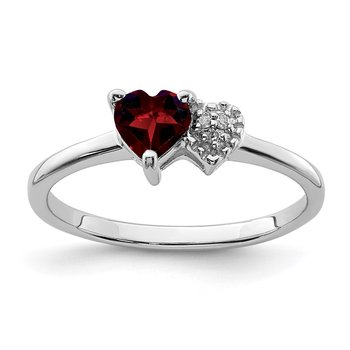 Sterling Silver Polished Garnet and Diamond Ring