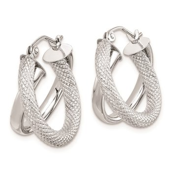 Sterling Silver Rhodium Plated Polished Diamond-cut Hoop Earrings