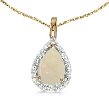 14k Yellow Gold Pear Opal Pendant
