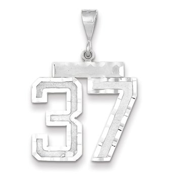 14k White Gold Large Diamond-cut Number 37 Charm