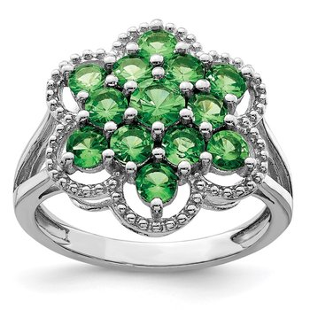 Sterling Silver Rhodium Tsavorite Garnet Flower Ring