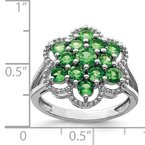 Quality Gold Sterling Silver Rhodium Tsavorite Garnet Flower Ring