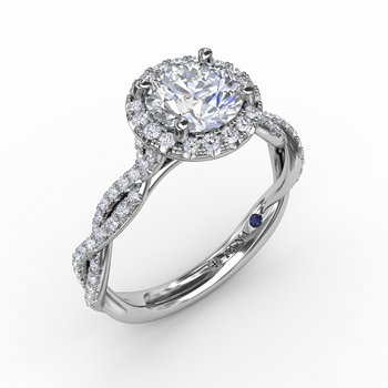 Classic Round Diamond Halo Engagement Ring With Cathedral Twist Diamond Band