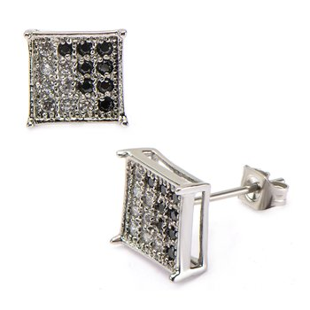 Clear & Black CZ in Square Hip Hop Stud Earrings