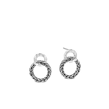 Classic Chain Interlinking Stud Earring in Silver