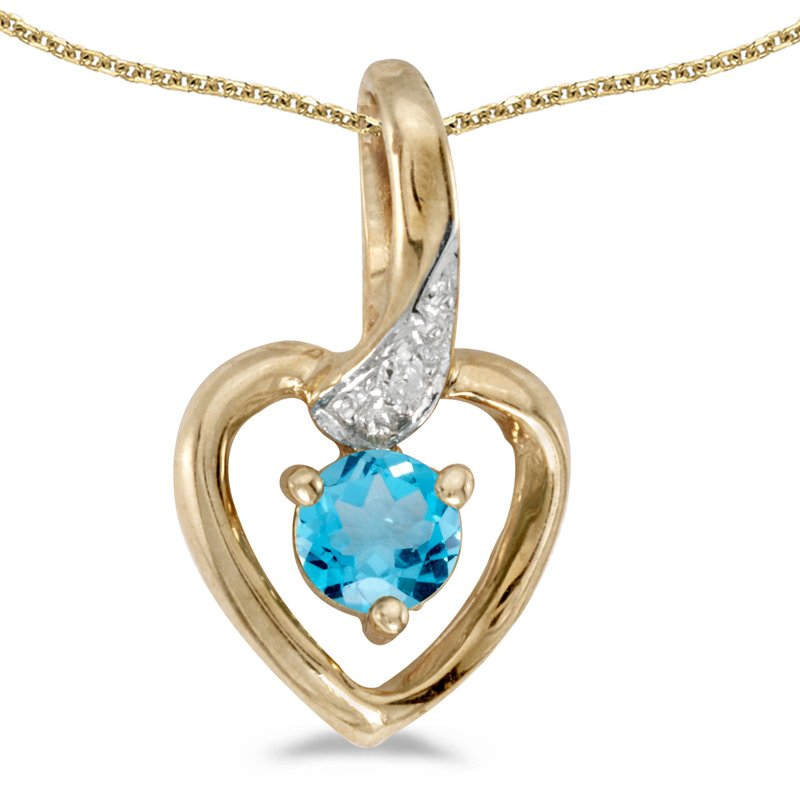 14k Yellow Gold Round Blue Topaz And Diamond Heart Pendant