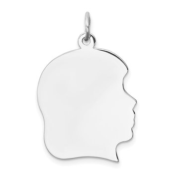 Sterling Silver Rh-plt Engraveable Girl Disc Charm Polish on Front/Back