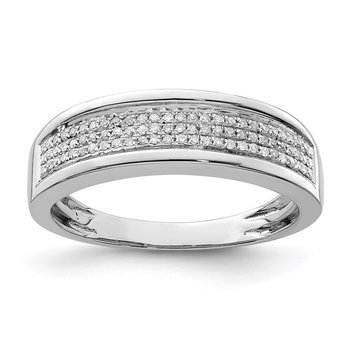 Sterling Silver Rhodium Diam. Men's Band