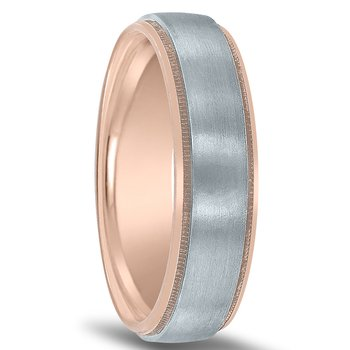 Two-tone Men's Novell Wedding Band NT17048 with White Center