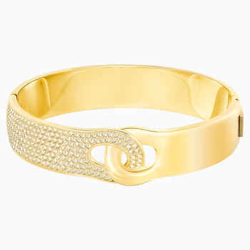 Gallon Wide Bangle, Golden, Gold-tone plated