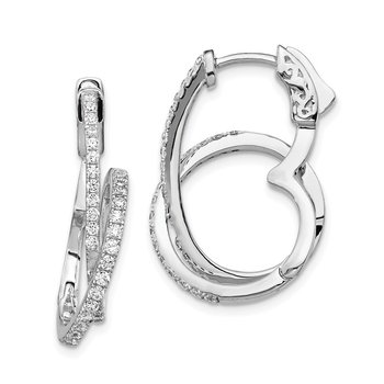 Sterling Silver CZ Loop Post Dangle Earrings