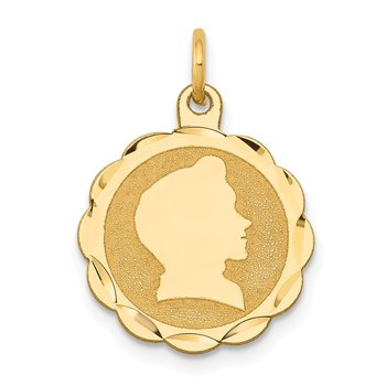14k Boy Head on .018 Gauge Engravable Scalloped Disc Charm
