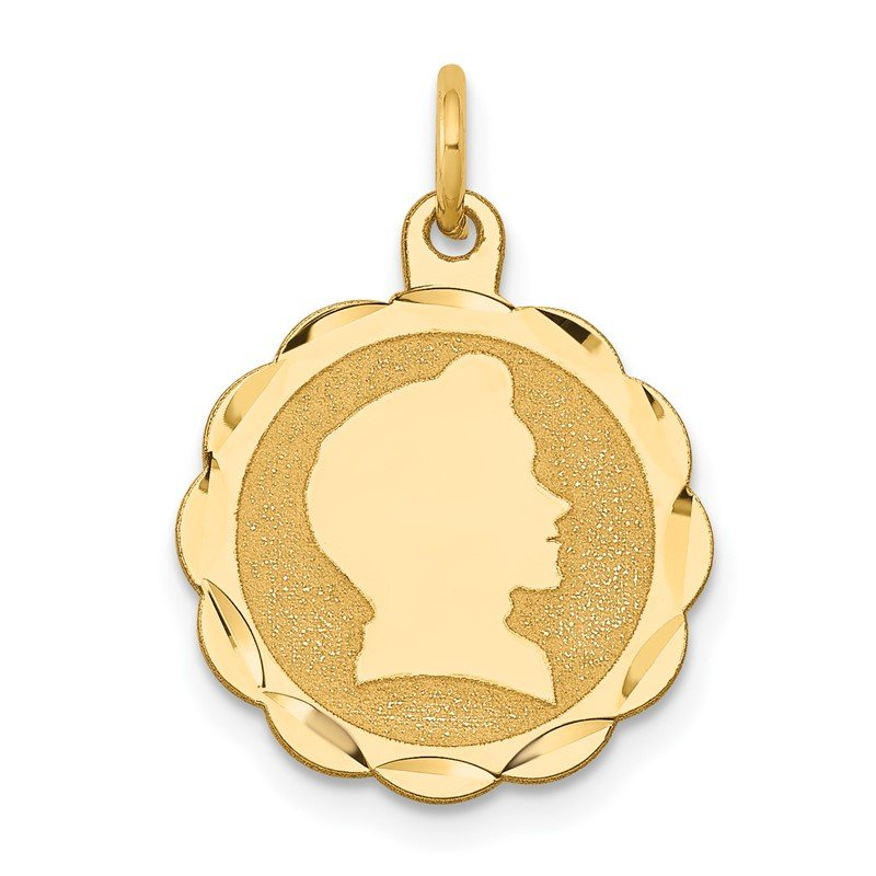 Quality Gold 14k Boy Head on .018 Gauge Engravable Scalloped Disc Charm