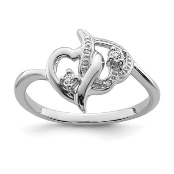 Sterling Silver Rhodium Plated Diamond Double Heart Ring
