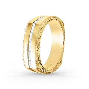 Baguette Diamond Mens Wedding Band 7mm