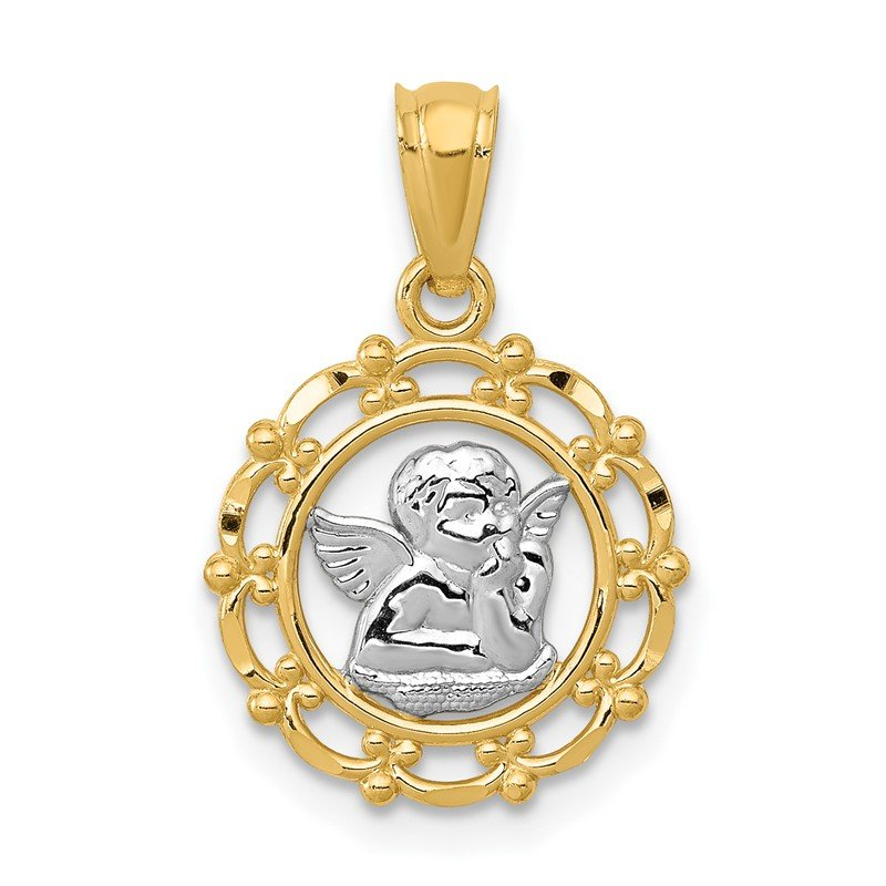 Quality Gold 14k w/Rhodium Framed Cherub Pendant