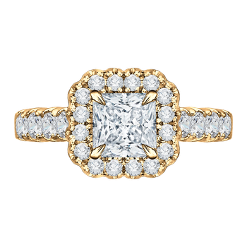 14K Yellow Gold Princess Diamond Halo Engagement Ring (Semi-Mount)