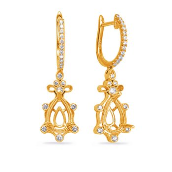 Yelloe Gold Diamond Earring