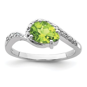 Sterling Silver Rhodium Plated Diamond and Peridot Oval Ring