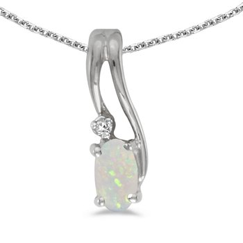 10k White Gold Oval Opal And Diamond Wave Pendant