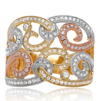 Swirling Diamond Fashion Ring