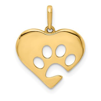 14K Polished Heart w/Paw Print Pendant