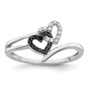Sterling Silver Rhod Plated Black & White Diamond Heart Ring