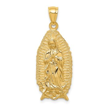 14K Polished & Textured Guadalupe Pendant