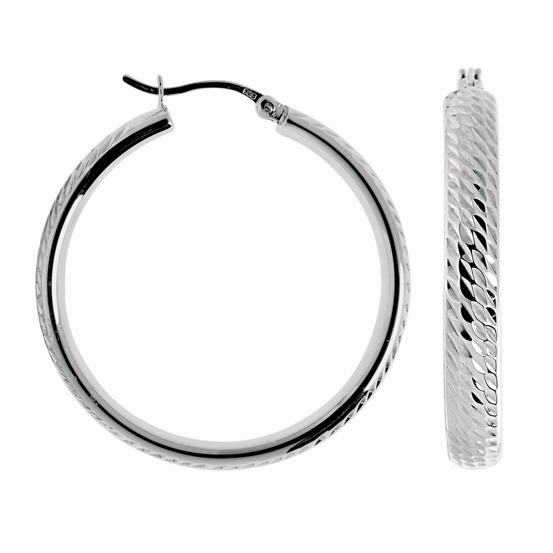 Royal Chain Silver Disco Hoop Earring