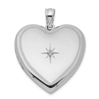 Sterling Silver Rhodium-plated & Diamond 24mm D/C Heart Locket