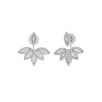 Diamond Stud Earrings With Fan Jacket &Ndash; 18K White Gold