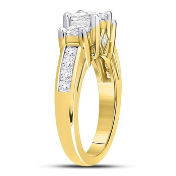 14kt Yellow Gold Womens Princess Diamond 3-stone Bridal Wedding Engagement Ring 2.00 Cttw