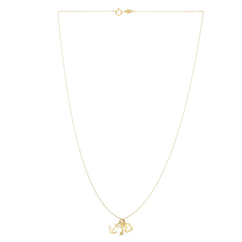 Royal Chain 14K Gold Heart, Anchor, and Key Charm Necklace
