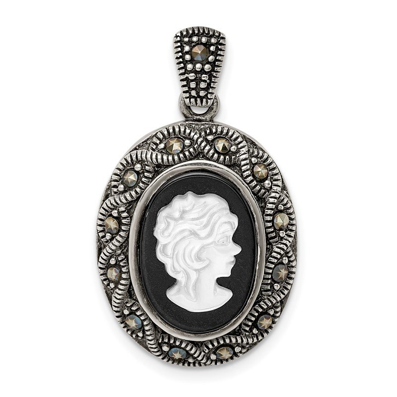 Quality Gold Sterling Silver Antiqued Marcasite, MOP & Black Agate Cameo Pendant