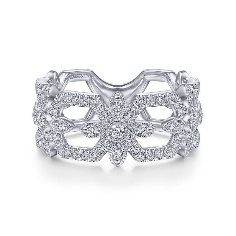 Gabriel Fashion 14K White Gold Openwork Hexagonal Diamond Ring