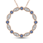 Essentials 10K Rose Gold 1/3 Ct Blue and White Diamond Circle Pendant with Chain