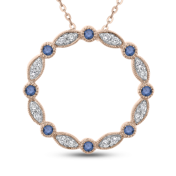 10K Rose Gold 1/3 Ct Blue and White Diamond Circle Pendant with Chain