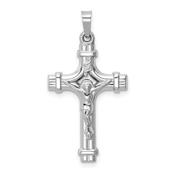 14k White Gold Polished INRI Crucifix Pendant