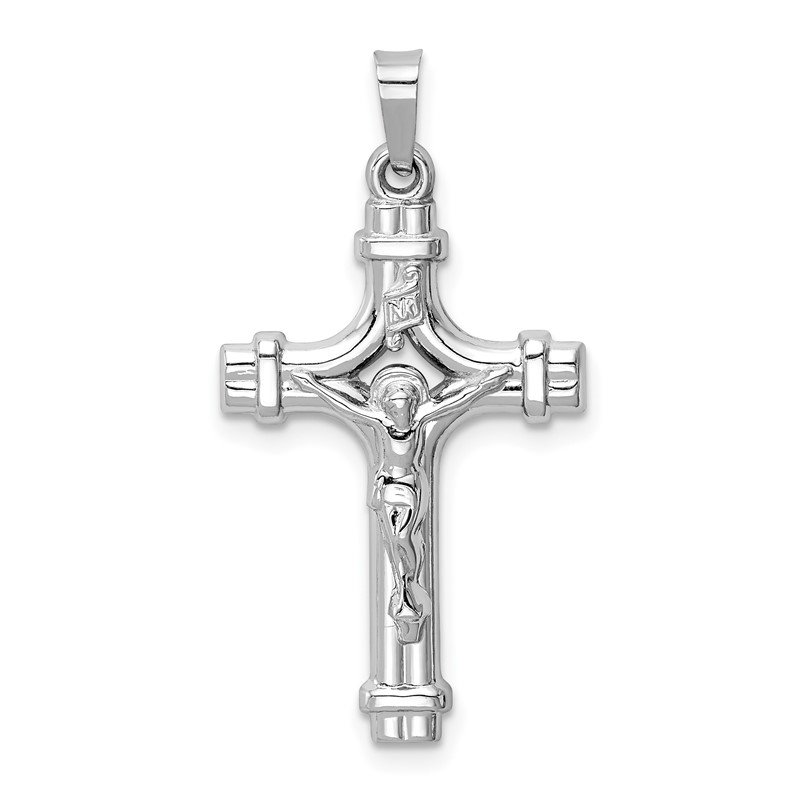 Quality Gold 14k White Gold Polished INRI Crucifix Pendant