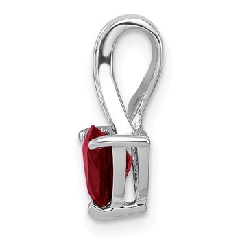 Sterling Silver Rhodium Plated Diamond and Garnet Heart Pendant